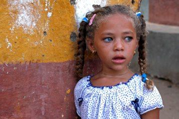 Nubian girl inside Elephantine Island, in Aswan.